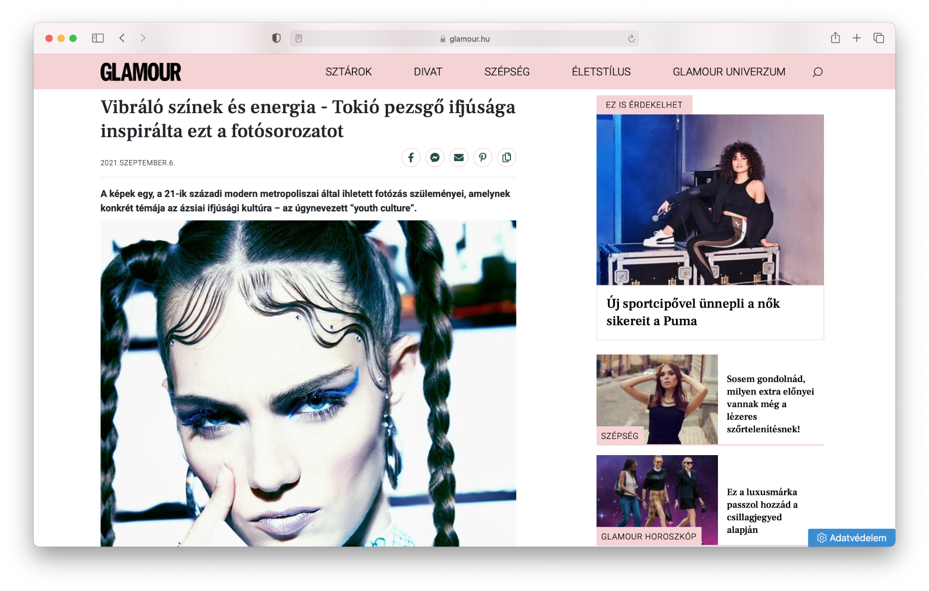 Screen shot of Glamour Hungary article featuring images by Illya Ovchar