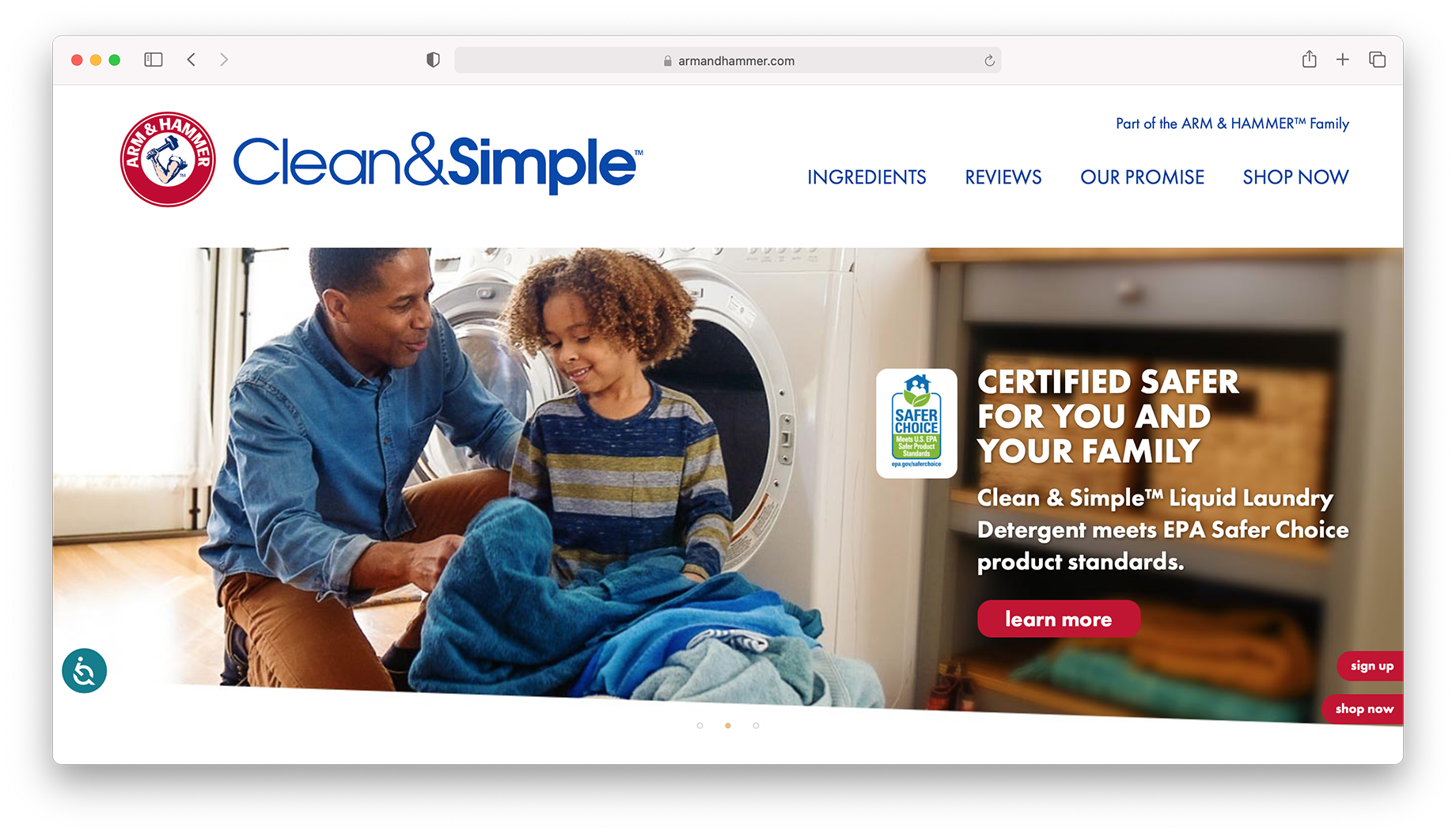 Screen shot of Arm & Hammer website clean & simple laundry campaign shot by Inti St. Clair