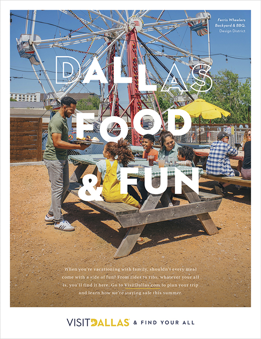 An ad featuring Ferris Wheelers Backyard & BBQ. Photography by Inti St. Clair for Visit Dallas.