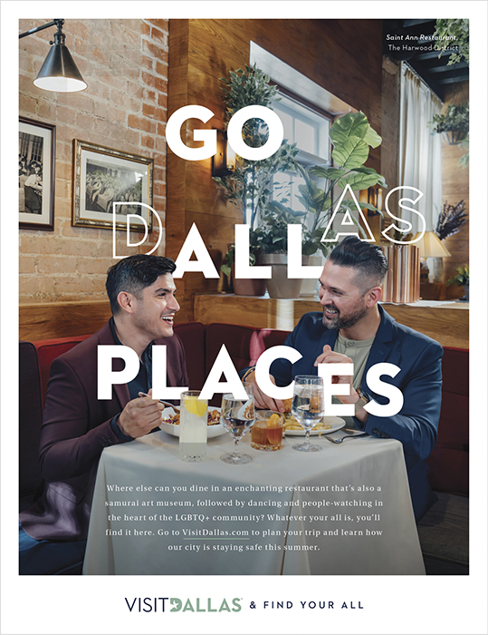 An ad featuring a gay couple dining at Saint Ann Restaurant. Photography by Inti St. Clair for Visit Dallas.