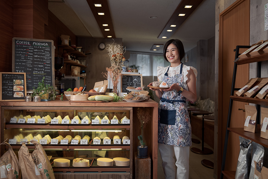 Naoko Yoneyama at her NY Cafe. Photographed by Irwin Wong for SK-II.