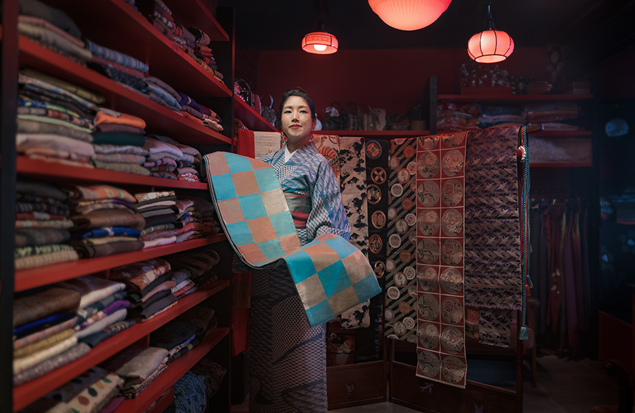 Mai Odashima at her shop Kien Kimono. Photographed by Irwin Wong.