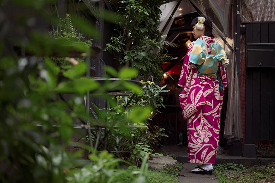 A woman wears one of Mai Odashima's kimonos. Photographed by Irwin Wong for SK-II.