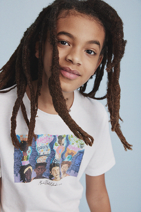 Close up of young kid wearing the collaborative t-shirt. Photographed by Janelle Bendycki for Abercrombie Kids.