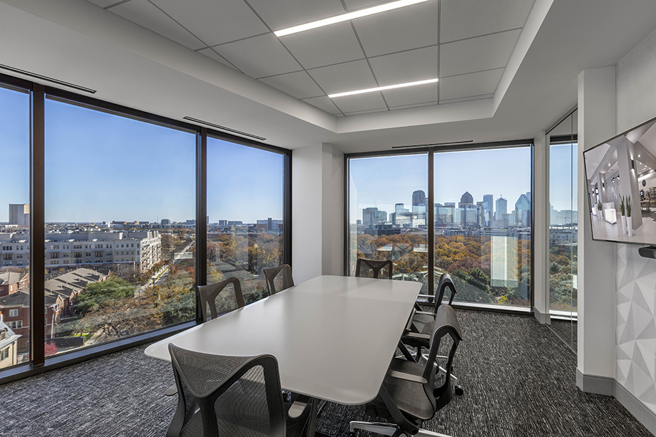 A conference room overlooks the nearby park. Photographed by Jasmine Anwer.