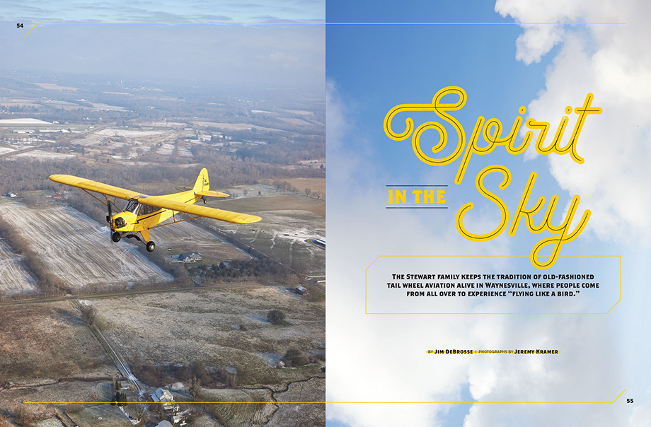 Tearsheet featuring a yellow aircraft Photography by Jeremy Kramer