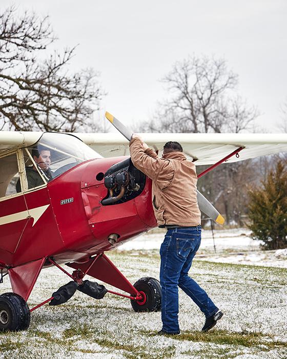 Starting up the plane. Photography by Jeremy Kramer