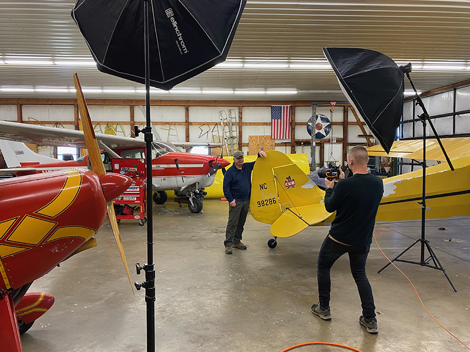 Behind-the-scenes with Jeremy Kramer while he photographs Red Stewart Airfield for Cincinnati Magazine.