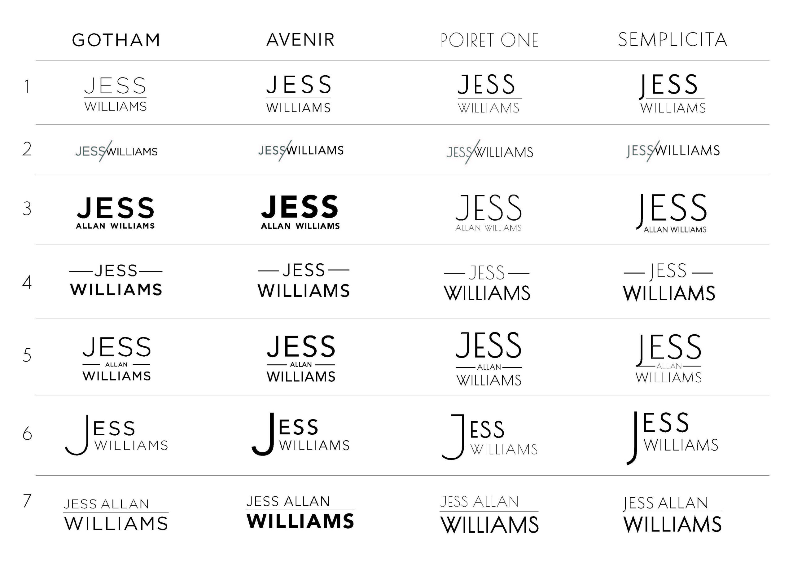 First round of choices Lindsay sent to Jess for his Wordmark