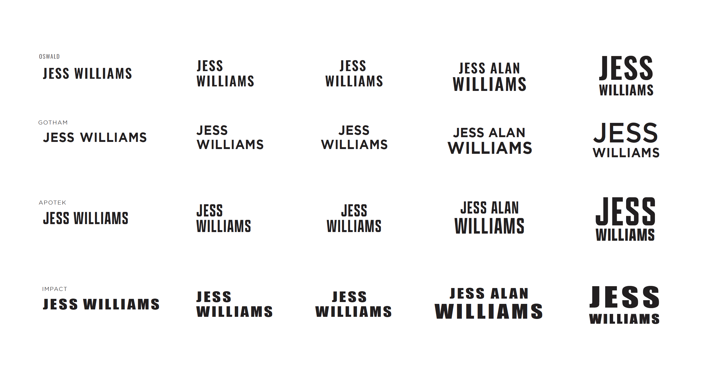 Second round of choices sent by Lindsay to Jess for his Wordmark