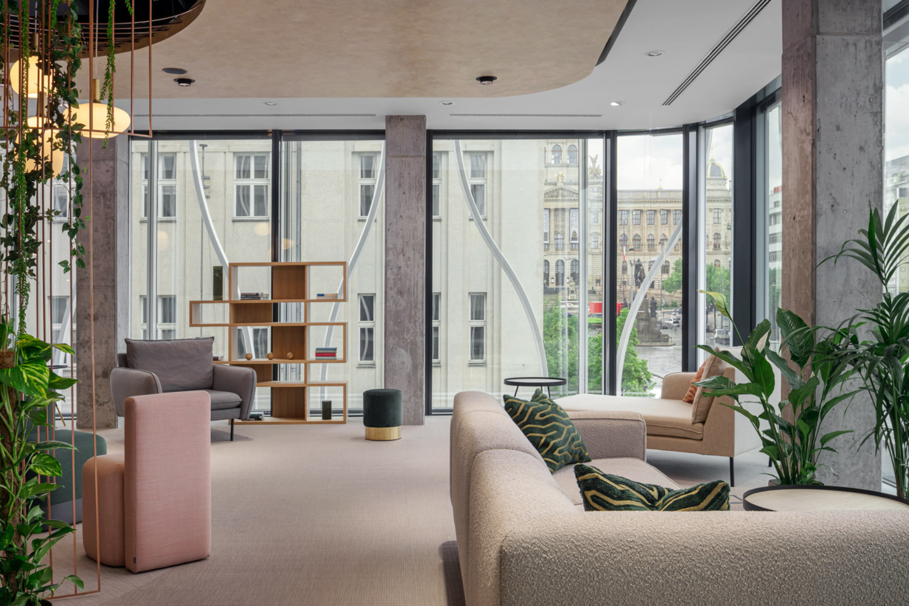 Interior shot of The Flow building with Wenceslas Square in the background shot by Jiri Lizler for Scott Weber