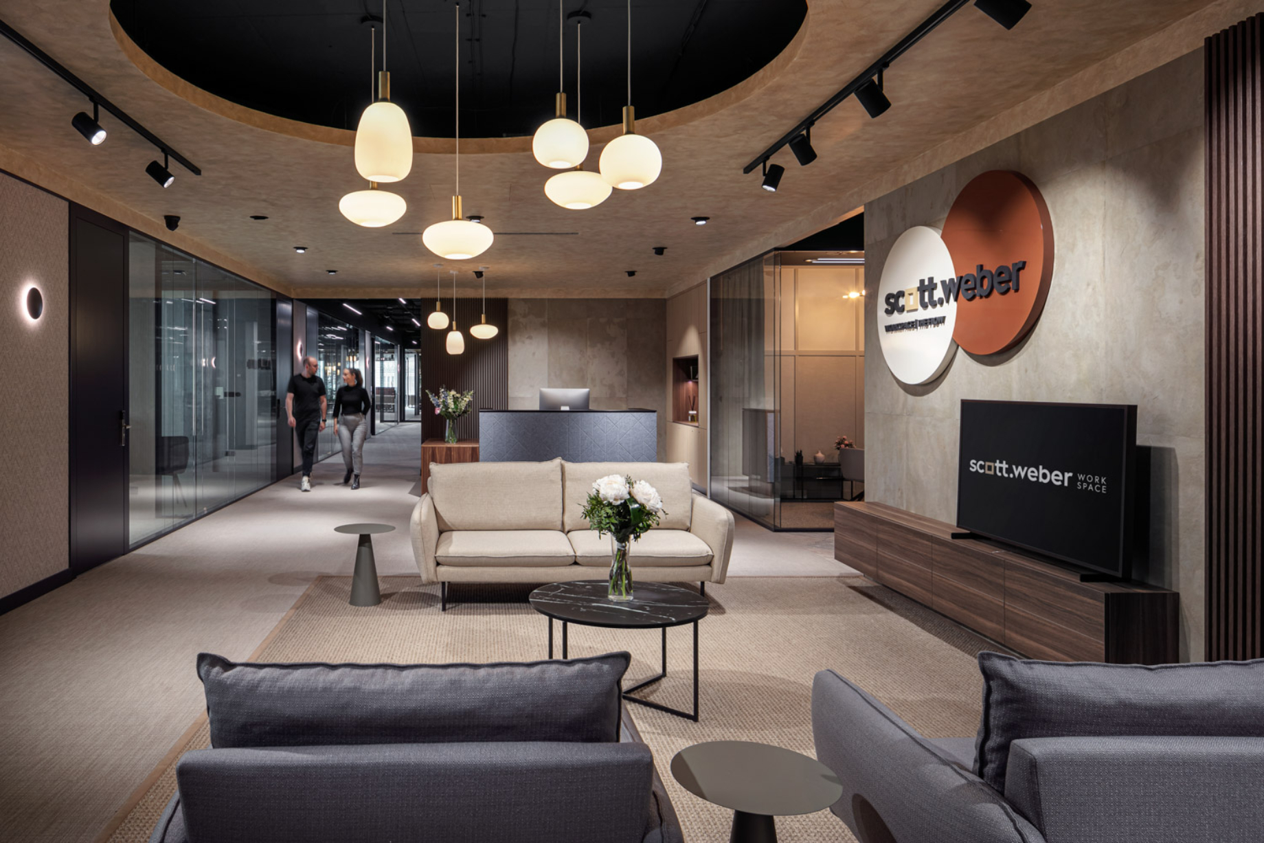 Interior of reception area at The Flow shot by Jiri Lizler for Scott Weber