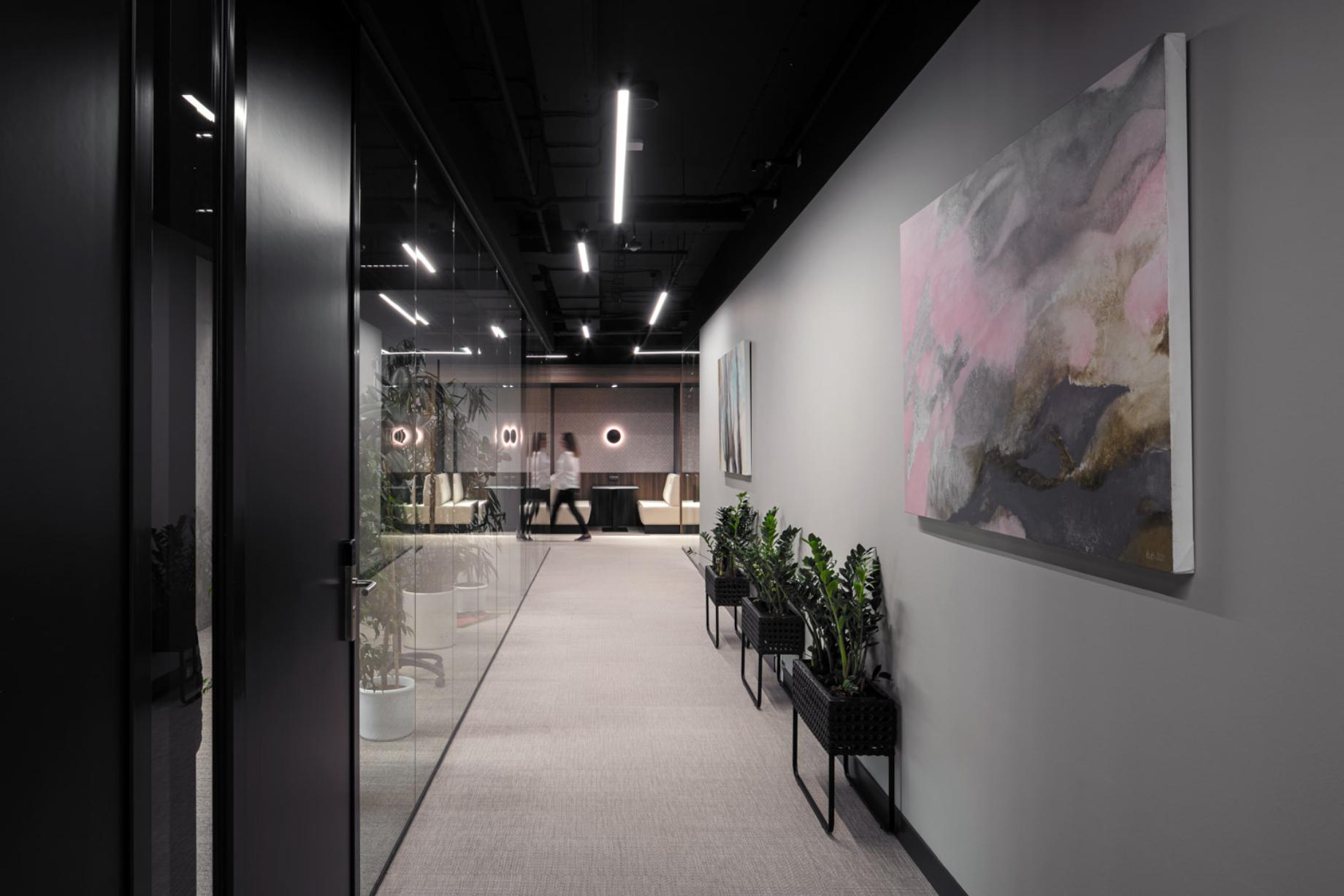 Long hallway with modern features shot by Jiri Lizler for Scott Weber