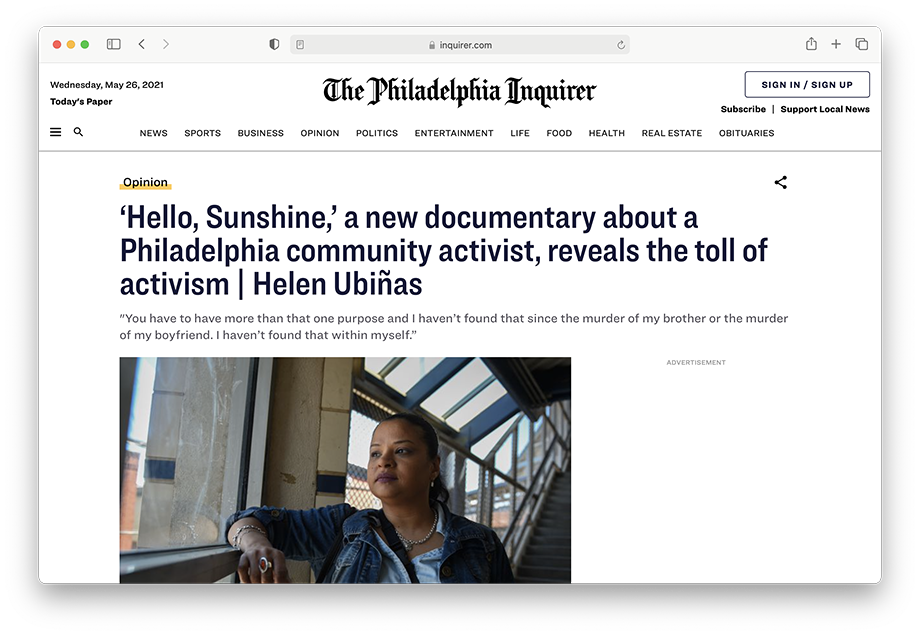A Philadelphia Inquirer op ed about 'Hello Sunshine.'