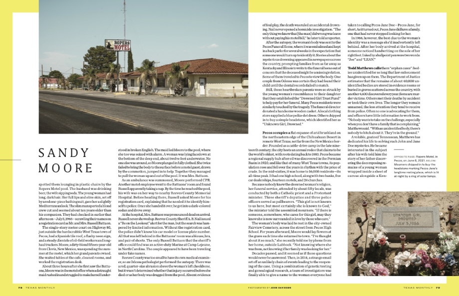 Tear sheet of Texas Monthly article on Pecos Jane shot by John Davidson