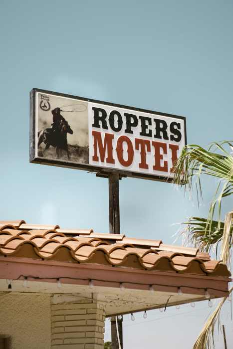 Ropers Motel sign in Pecos Tx shot by John Davidson for Texas Monthly Pecos Jane article