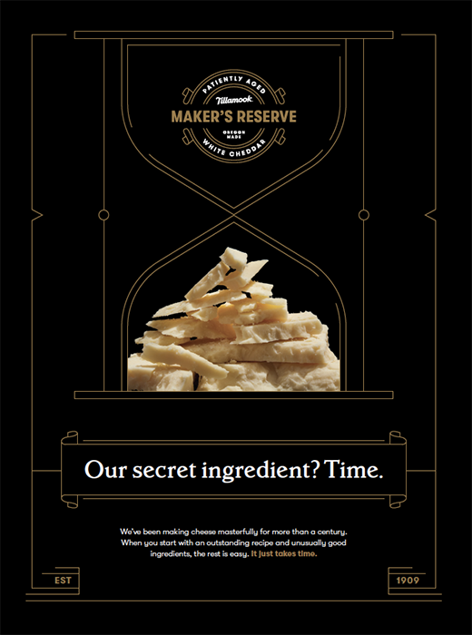 Tillamook promotional brochure featuring a Maker's Reserve white cheddar. Photographed by John Valls for Tillamook Creamery.