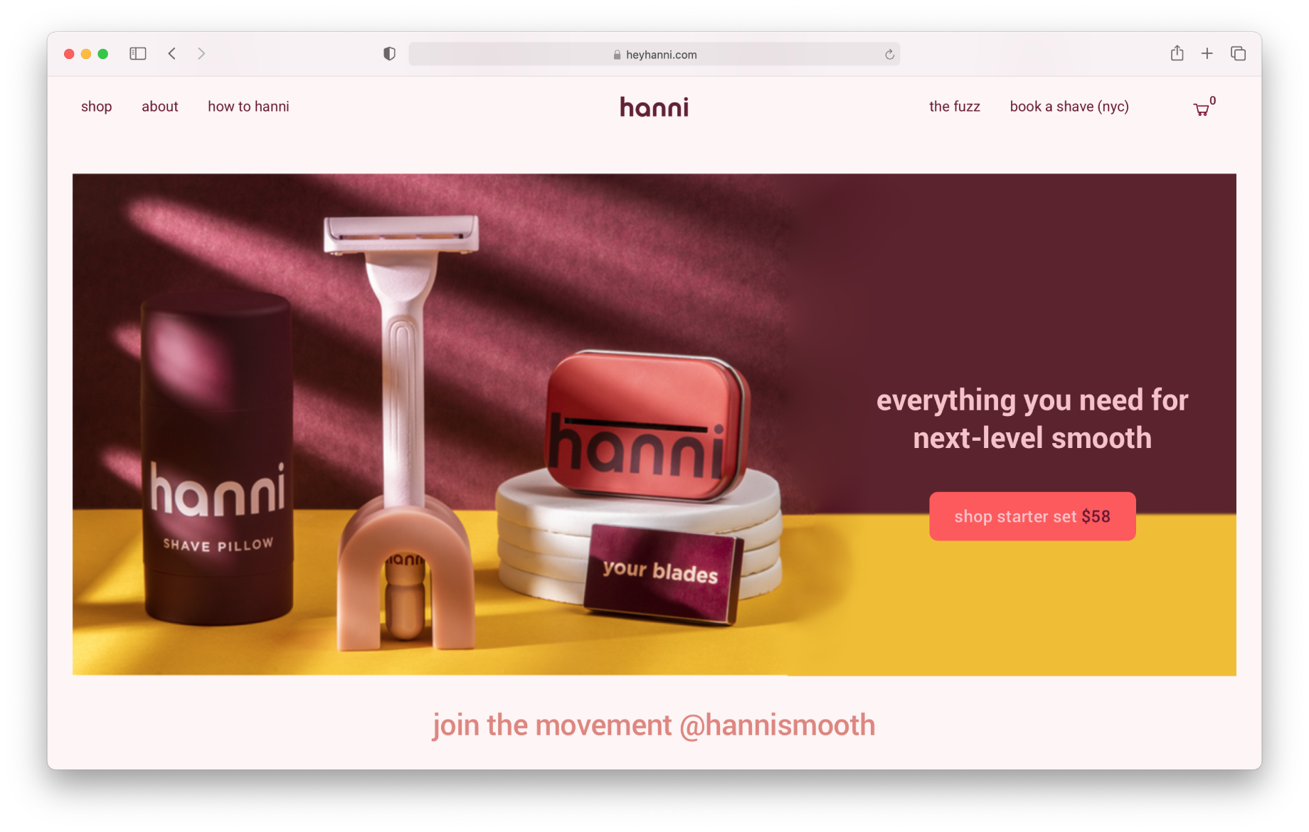 Screen shot of Hanni webpage featuring product images shot by Katelin Kinney