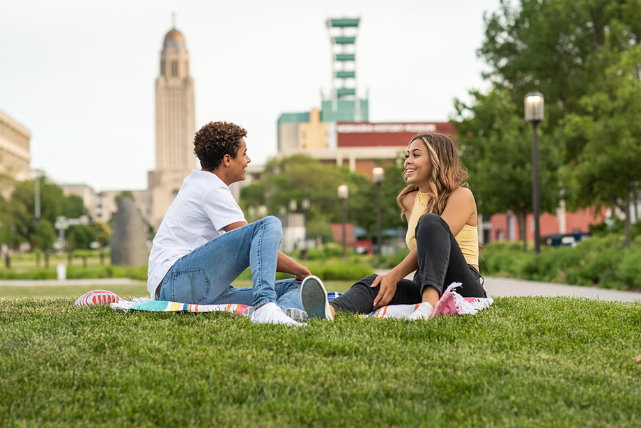 Kobe and Jada on a date in the park. Photographed by Kathy Plunkett for Lincoln Chamber of Commerce and Visitors Bureau.
