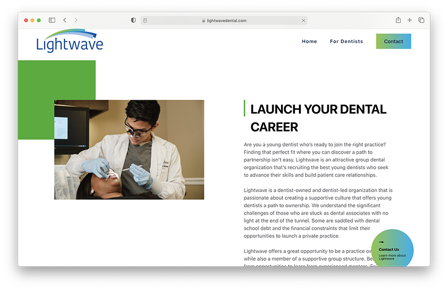 Lightwave Dental's website featuring Kevin Titus' photography work.