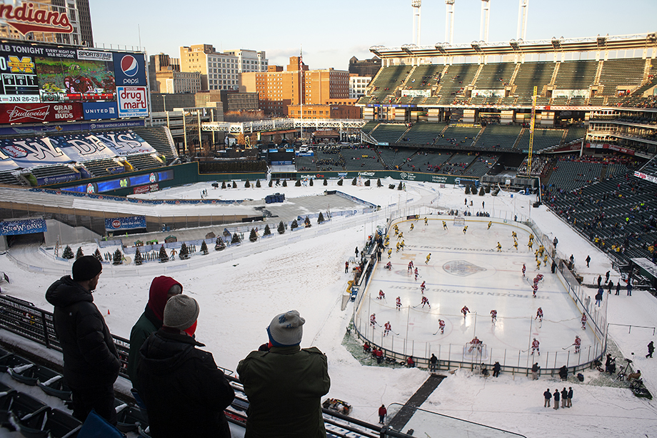 Ohio State vs University of Michigan at the Frozen Diamond Faceoff at Progressive Field in Cleveland, Ohio on January 15, 2012. Photography by Kirk Irwin.