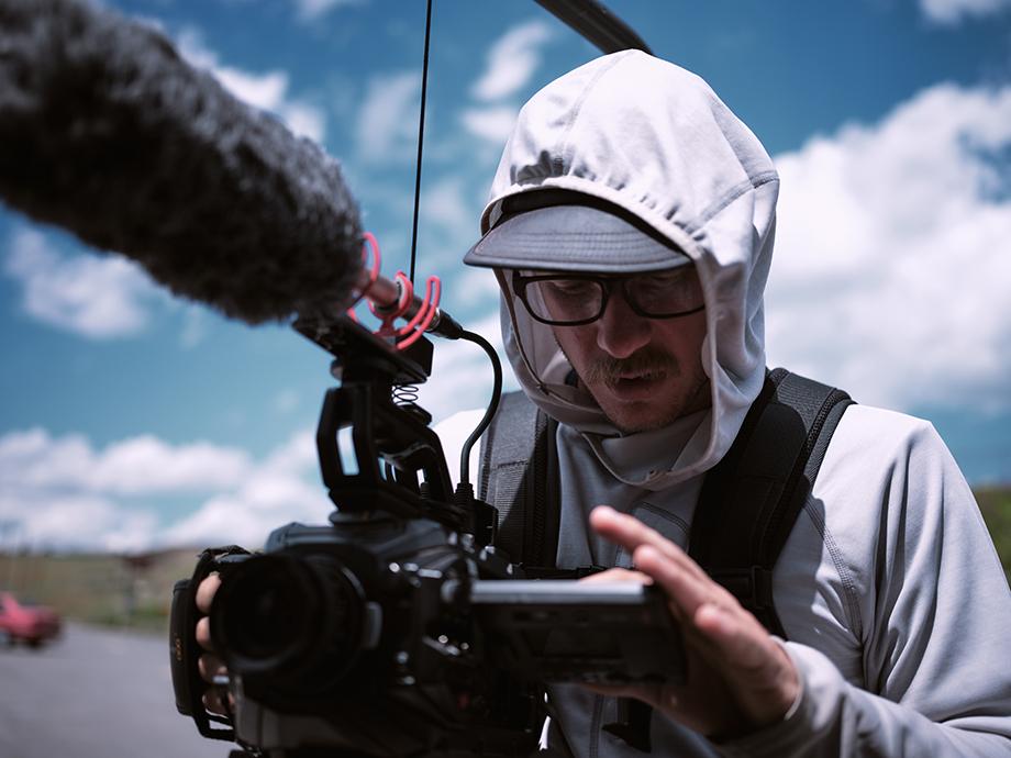 A behind-the-scenes image of Kody Kohlman filming.