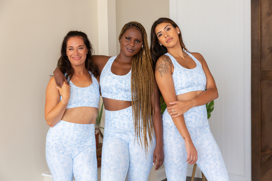 Three models in matching sets at Be Well Studios shot by Lucie Wicker for Bold Body