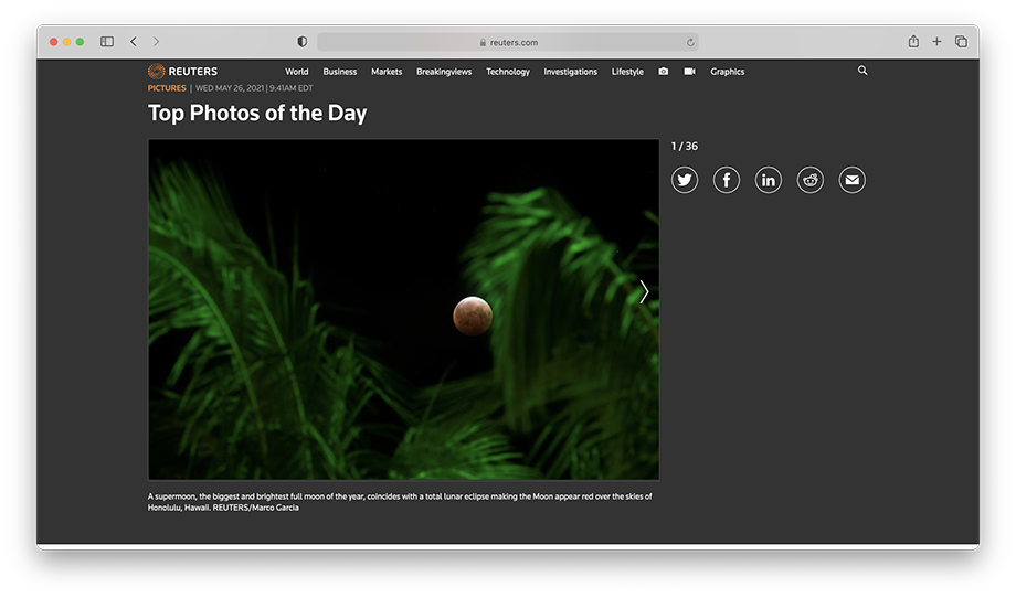 One of Marco Garcia's images for Reuters was featured as one of the top photos of the day.