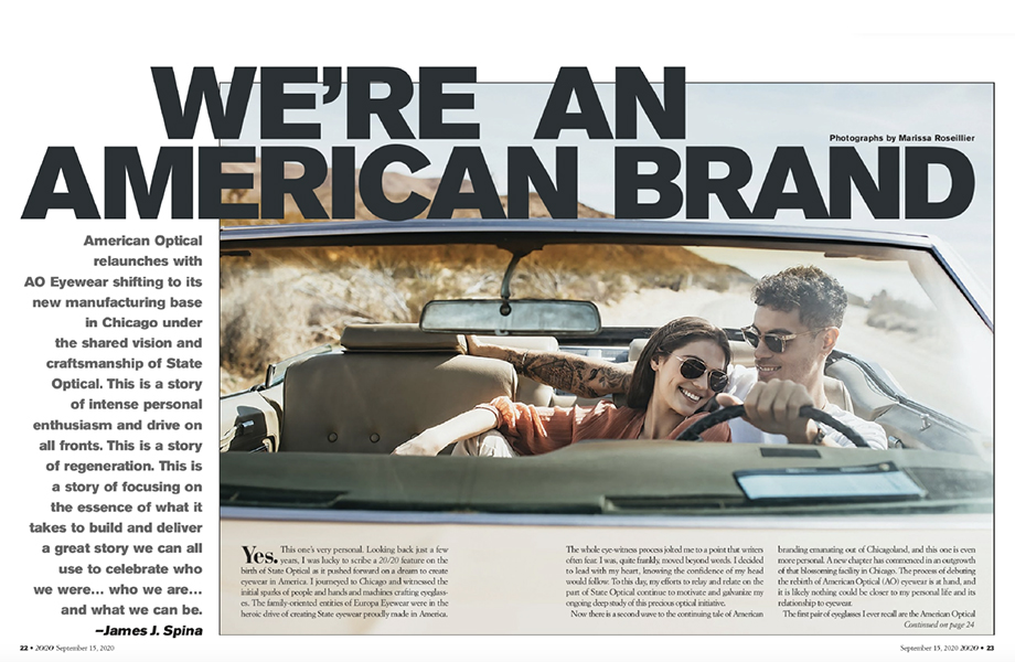 A tearsheet from 20/20 Magazine featuring photography by Marissa Roseillier for American Optical.