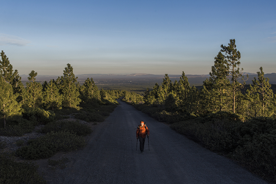 Rue McKenrick hiking. Photographed by Michael Hanson for Backpacker Magazine.