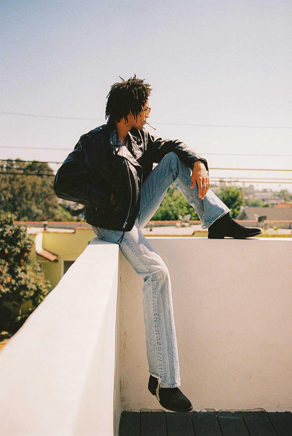 Model Jaxon Rose on roof of Silver Lake house shot by Michael Julius for New Republic Shoes