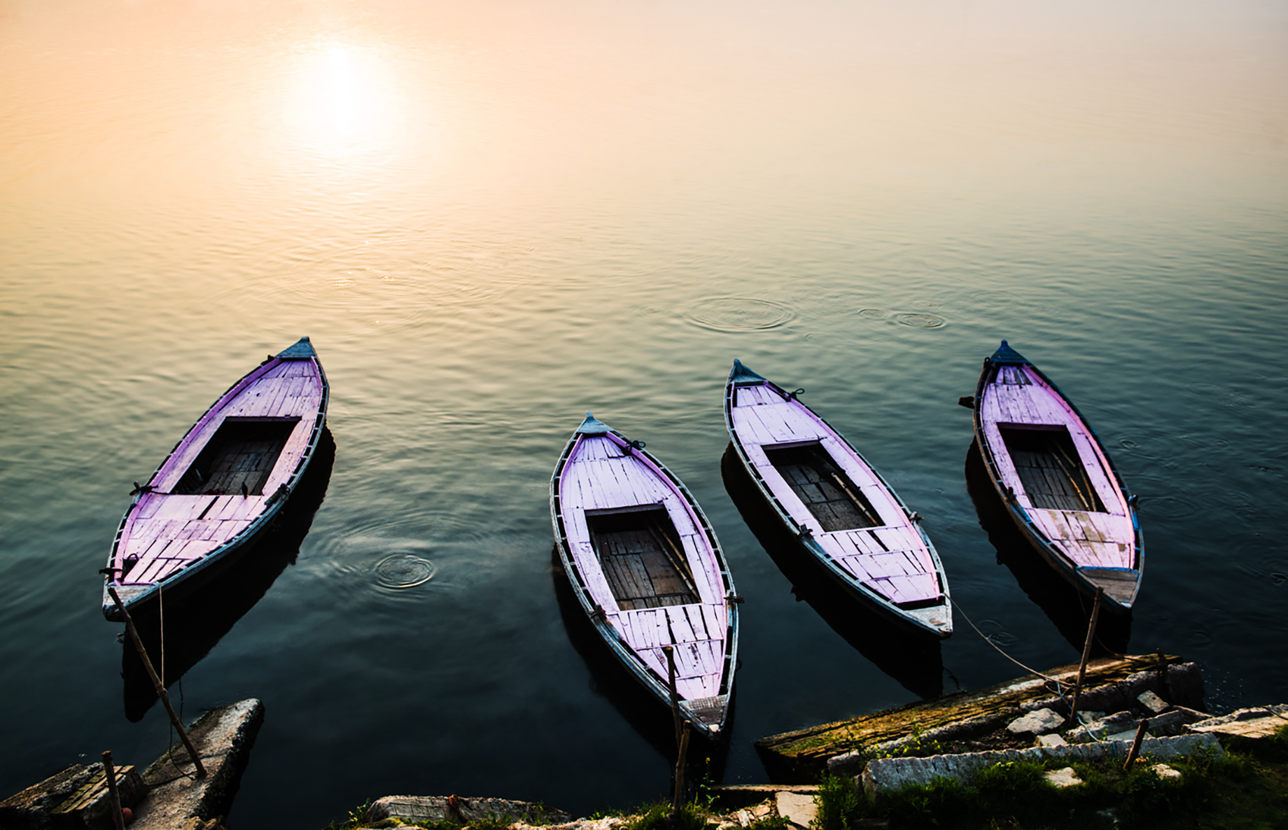 Boats on the Ganges river shot by Michael Marquand for Lodestars Anthology
