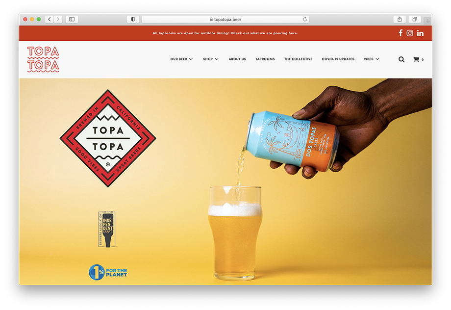A screen capture of Topa Topa Brewing's website featuring Mikaela Hamilton's photography work. In this studio image, Mikaela had a model pour the beer into a glass to show the product.