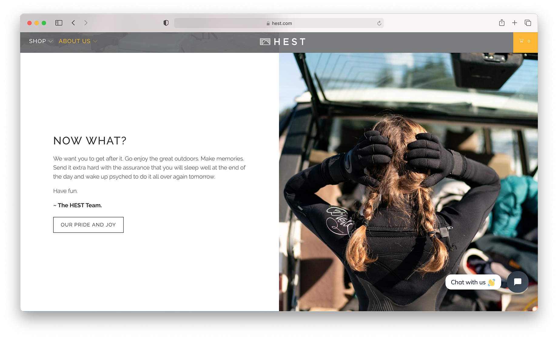 Screen shot of Hest website featuring images shot by Motofish