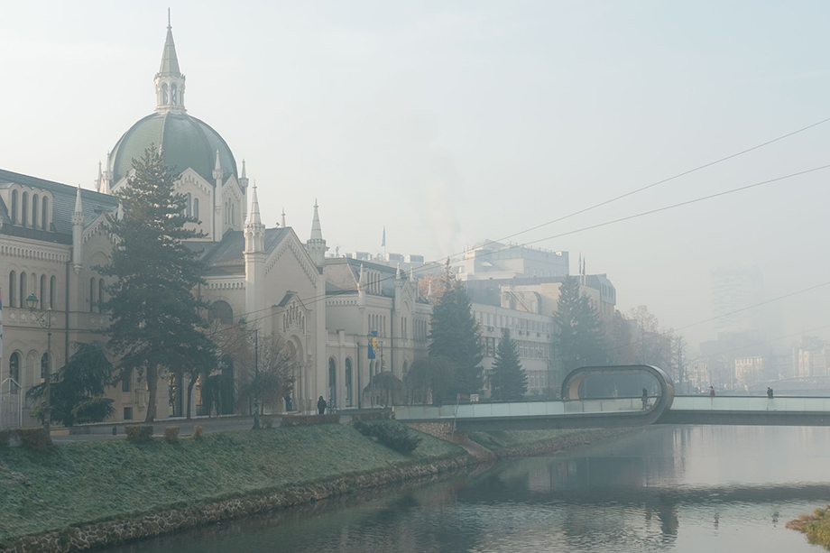 Pollution hangs in the air near Sarajevo's Academy of Fine Arts. Photography by Nick St. Oegger.