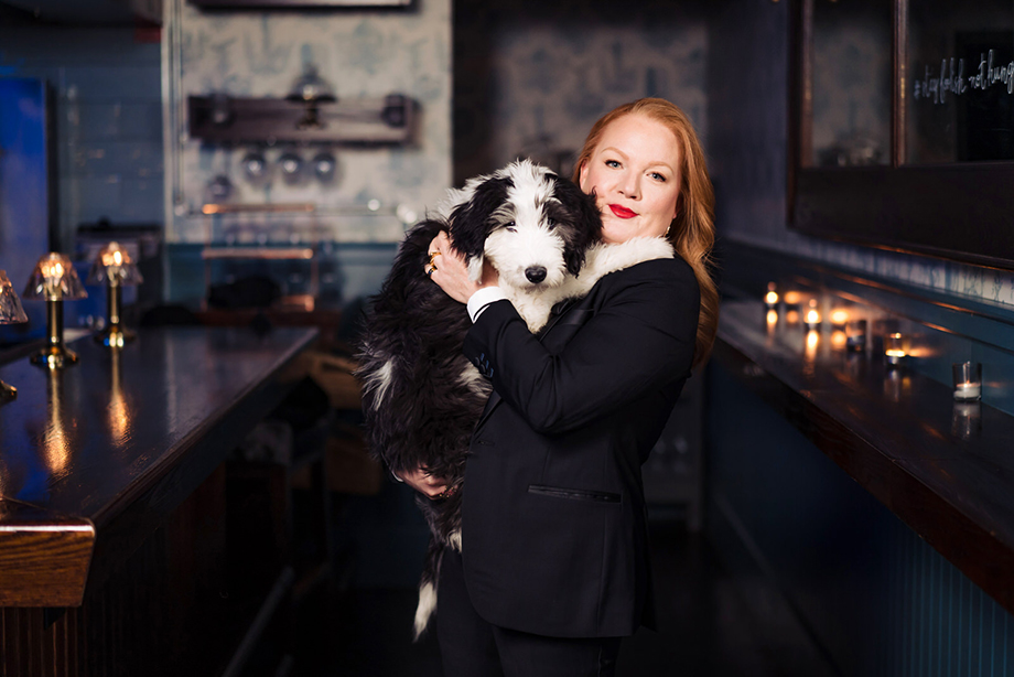Tiffany Faison with her dog. Photographed by Nicole Loeb for 9Tailors.