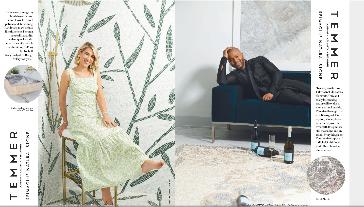 Patrick Heagney photographs Michel Smith Boyd and Clary Bosbyshell for Temmer Marble