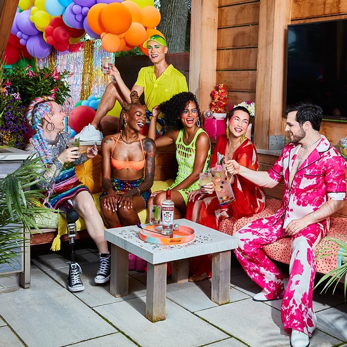 A group celebrates pride month. Photographed by Paul Quitoriano for Smirnoff.