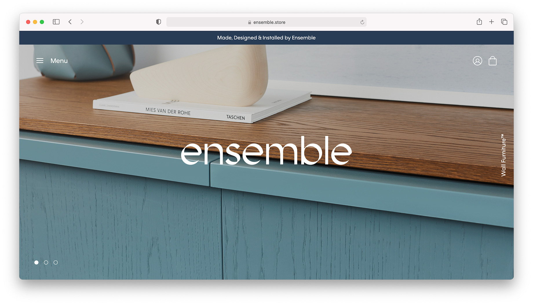 Screen shot of Ensemble furniture website shot by Peter Tarasiuk