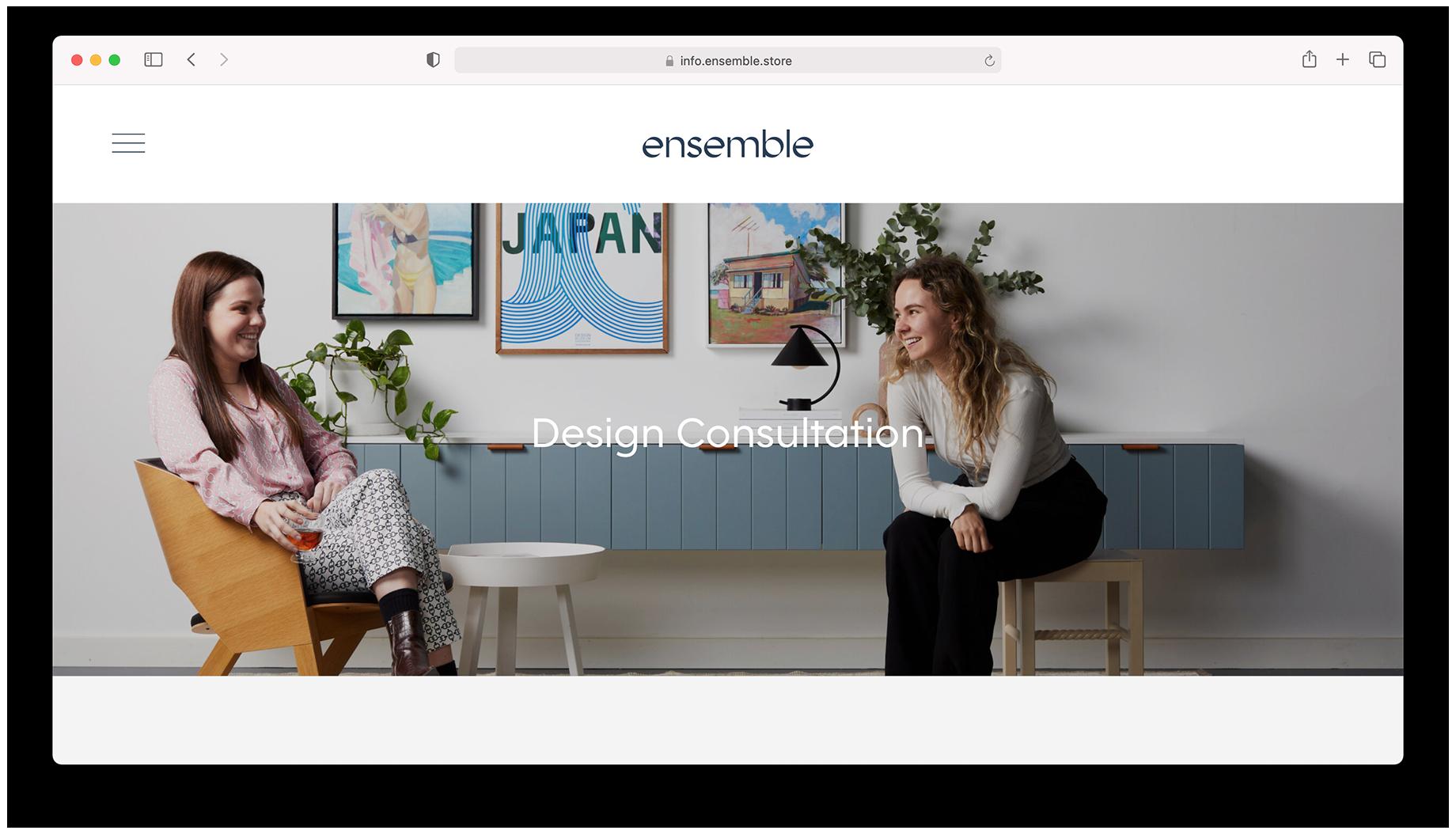 Screen shot of Design Consultation page featuring two Ensemble Furniture designers shot by Peter Tarasiuk