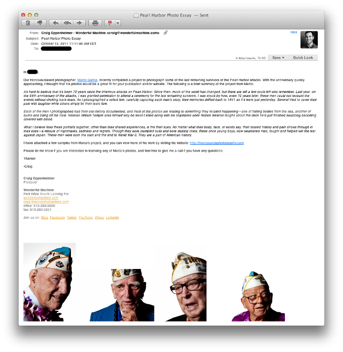 Email from Craig Oppenheimer pitching to potential clients Marco garcia's pearl harbor veterans project