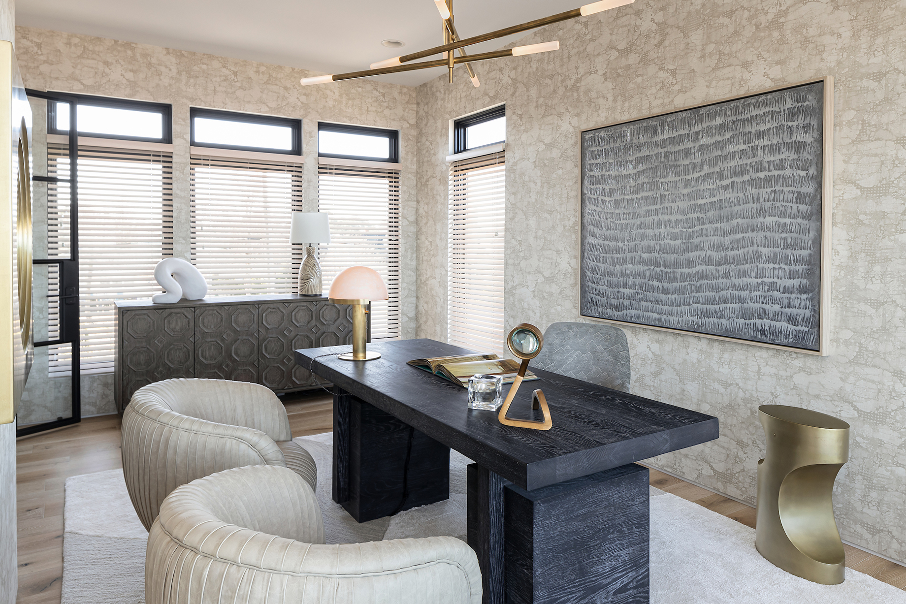 Modern luxe office in Virginia Beach home designed by Kenneth Byrd shot by Quentin Penn Hollar for Virginia Living Magazine