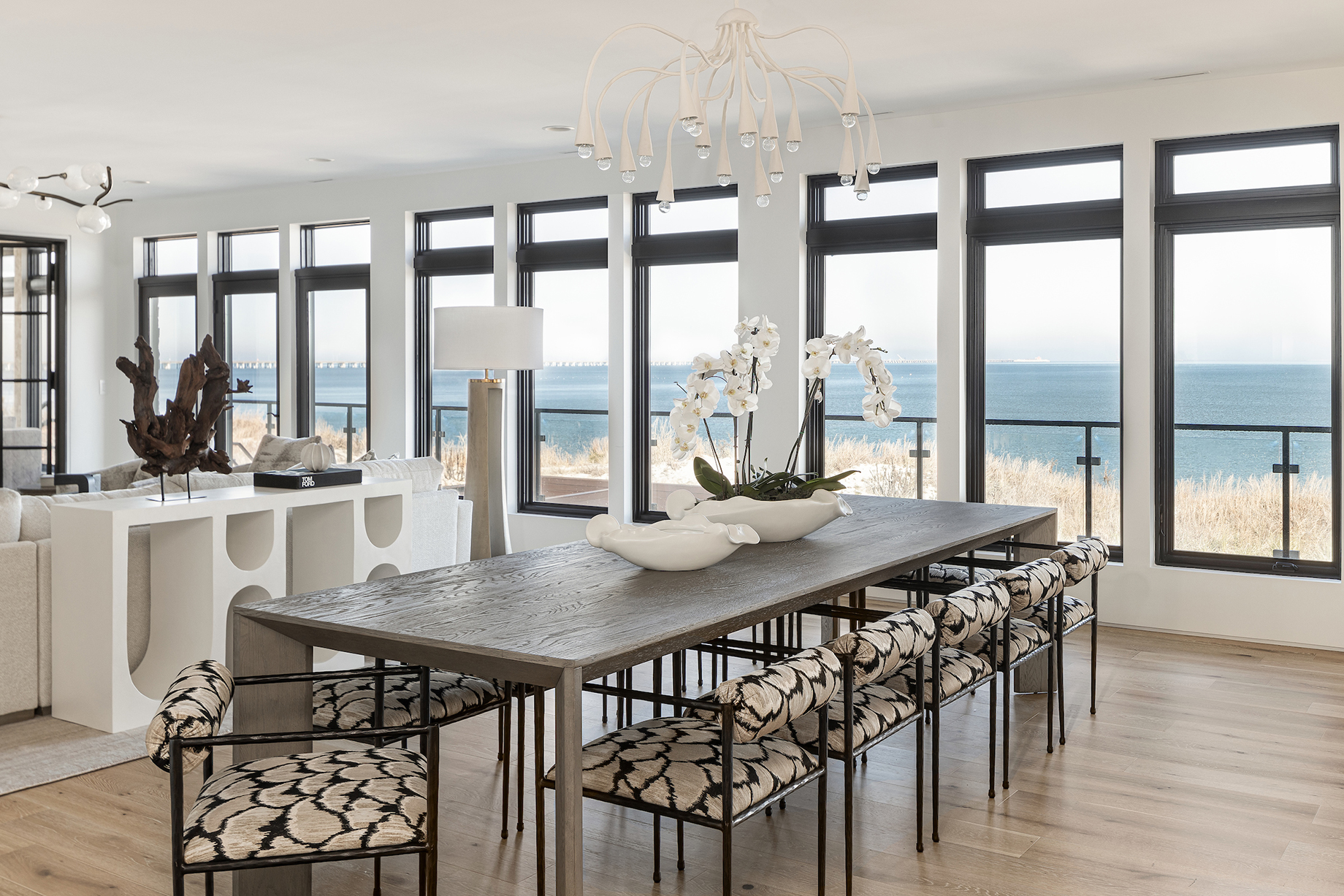 Open dining room with oceanside view in Virginia Beach home.