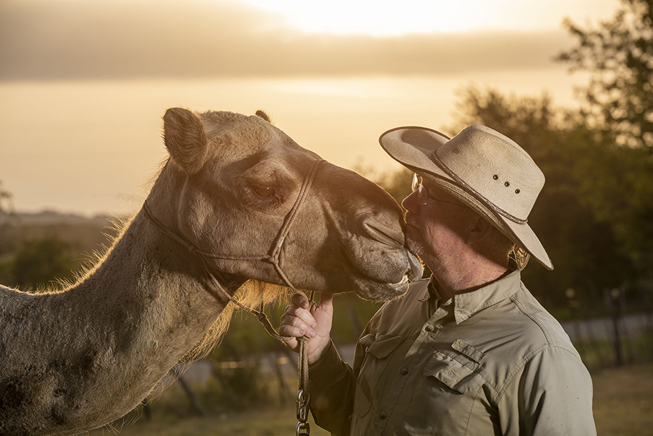 Richard the camel gets a kiss grom Texas Camel Corps owner Doug Baum. Photography by Scott Van Osdol.