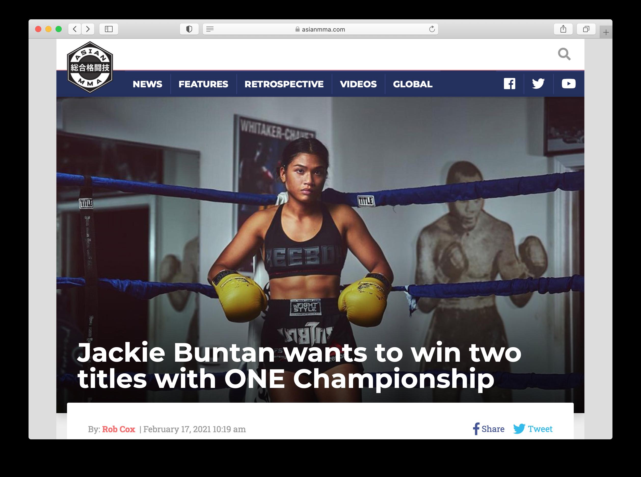 Jeff Dojillo's gym portrait of Jackie Buntan on Asian MMA