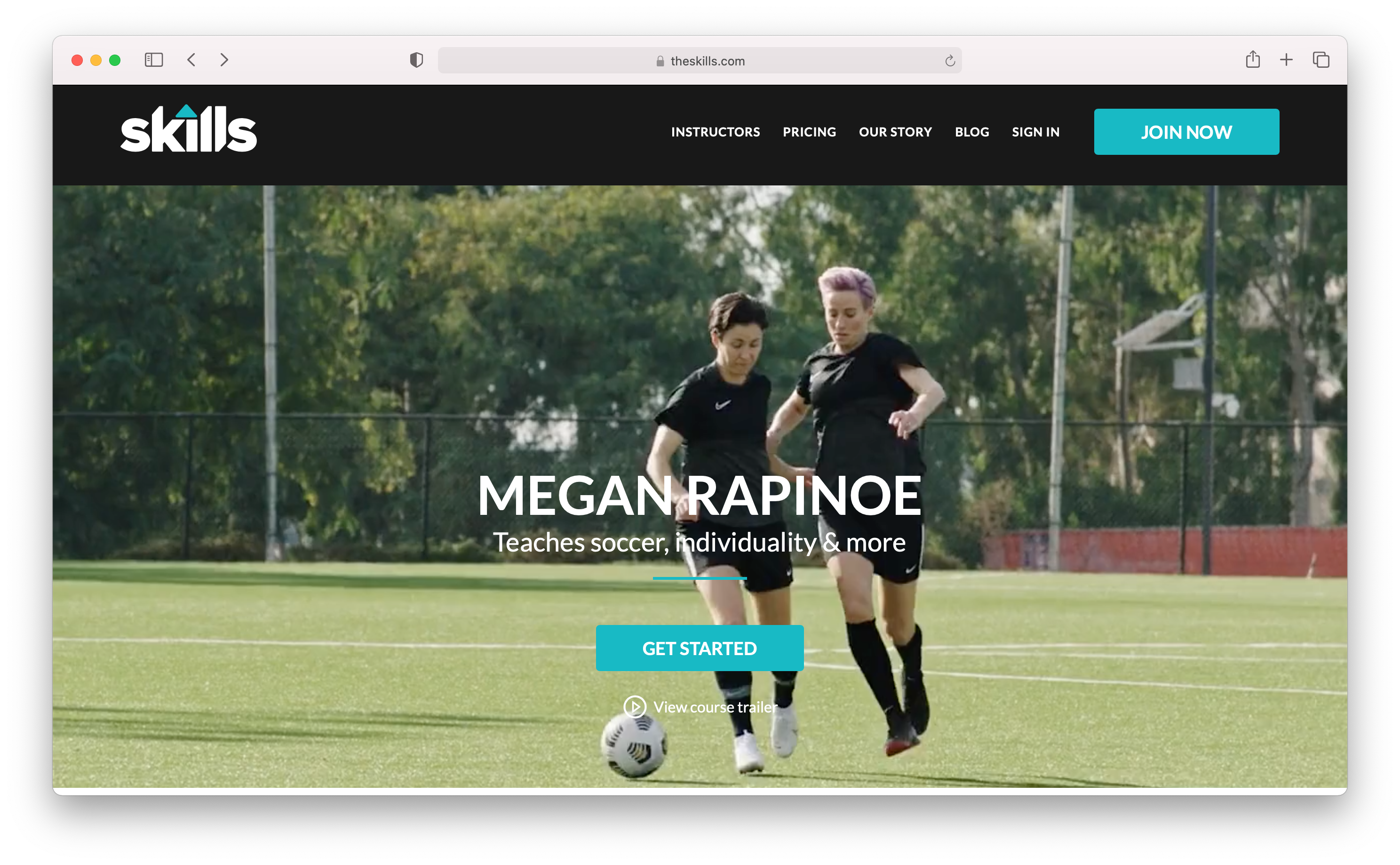 Megan Rapinoe on her course for the Skills