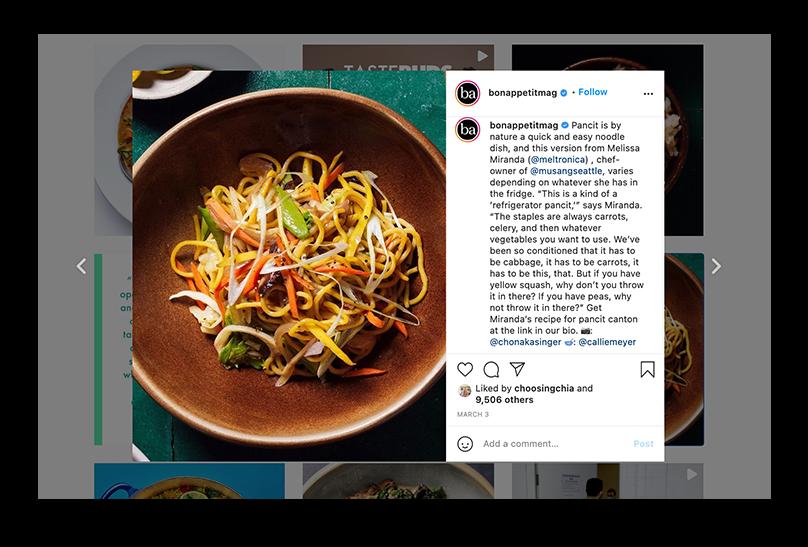 Screenshot of Photographer Chona Kasinger's image on Bon Appetit Magazine's Instagrame