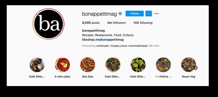 Screenshot of Bon Appetit's Instagram