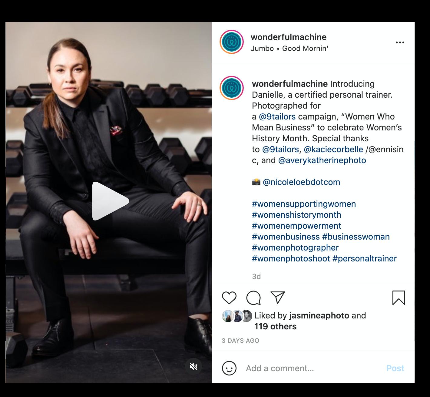 Screenshot of reel on Wonderful Machine Instagram