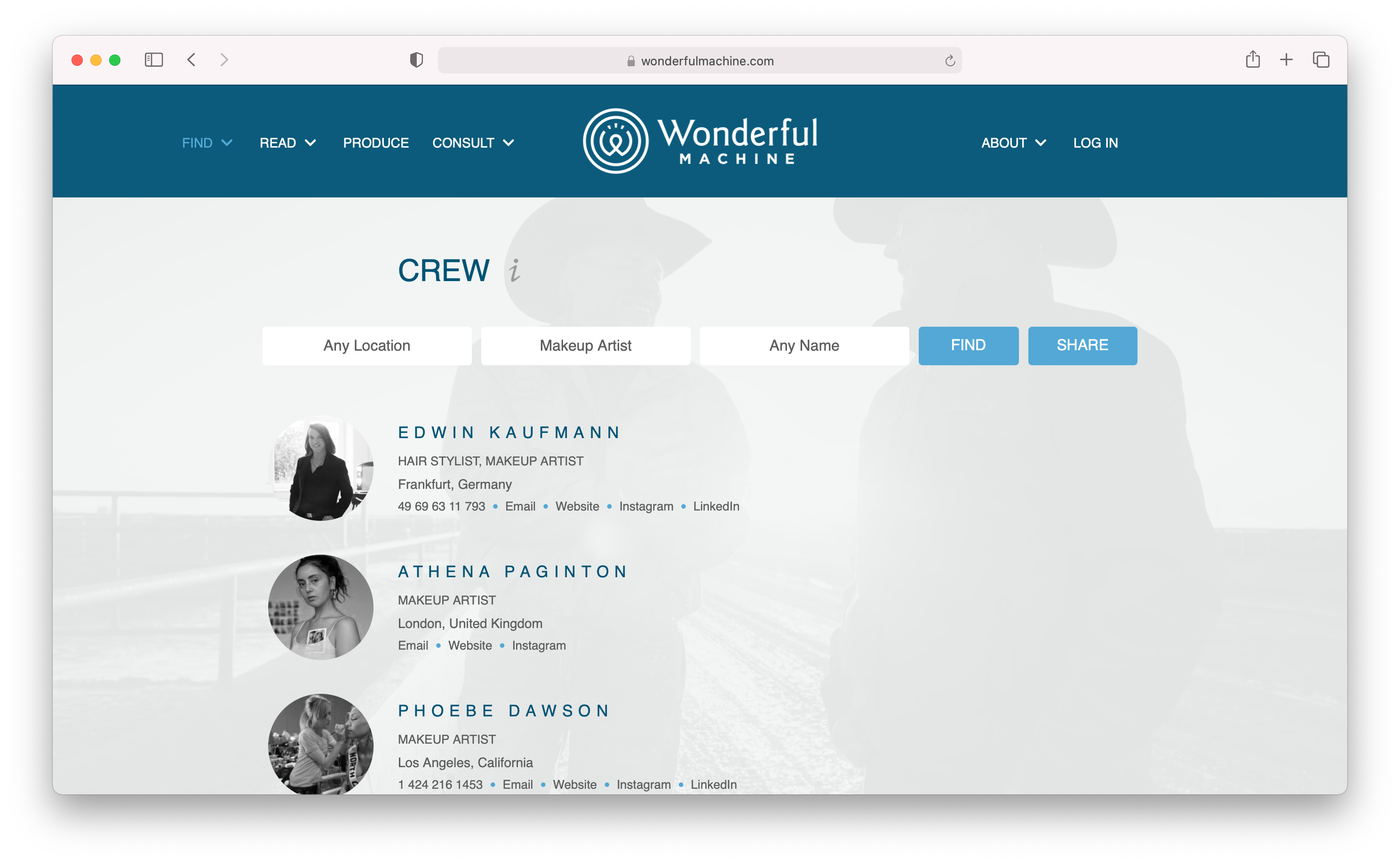 The Find Crew database at Wonderful Machine has an international directory of the best makeup artists.